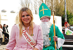 Ashling McGovern Queen of the Lakes on board with St Patrick at the Ballinrobe parade...Pic Conor McKeown