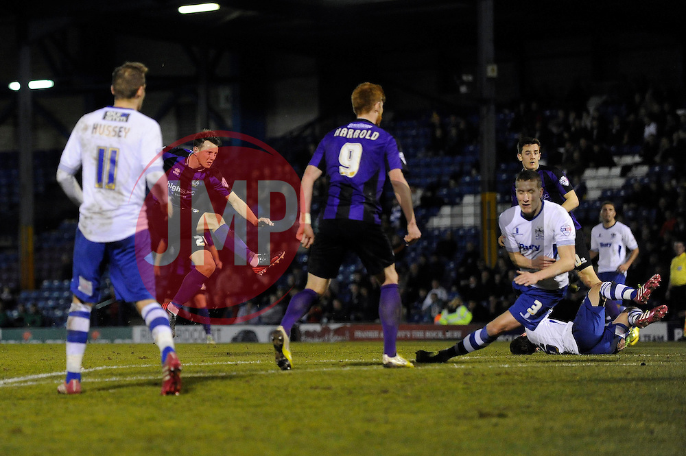 Bristol Rovers' Ollie Clarke scores a goal to make it 1 - 1 - Photo mandatory by-line: Dougie Allward/JMP - Mobile: 07966 386802 01/04/2014 - SPORT - FOOTBALL - Bury - Gigg Lane - Bury v Bristol Rovers - Sky Bet League Two