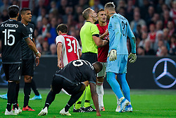13-08-2019 NED: UEFA Champions League AFC Ajax - Paok Saloniki, Amsterdam<br />  Ajax won 3-2 and they will meet APOEL in the battle for a group stage spot / Dusan Tadic #10 of Ajax, Alexandros Paschalakis #31 of PAOK