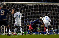 Photo: Jed Wee.<br />Scotland v France. UEFA European Championships 2008 Qualifying. 07/10/2006.<br /><br />Scotland's Gary Caldwell scores the winning goal.