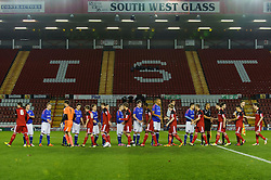 The teams exchange handshakes before kick off - Photo mandatory by-line: Rogan Thomson/JMP - Tel: Mobile: 07966 386802 - 04/12/2012 - SPORT - FOOTBALL - Ashton Gate Stadium - Bristol. Bristol City U18 v Ipswich Town U18 - FA Youth Cup Third Round Proper.