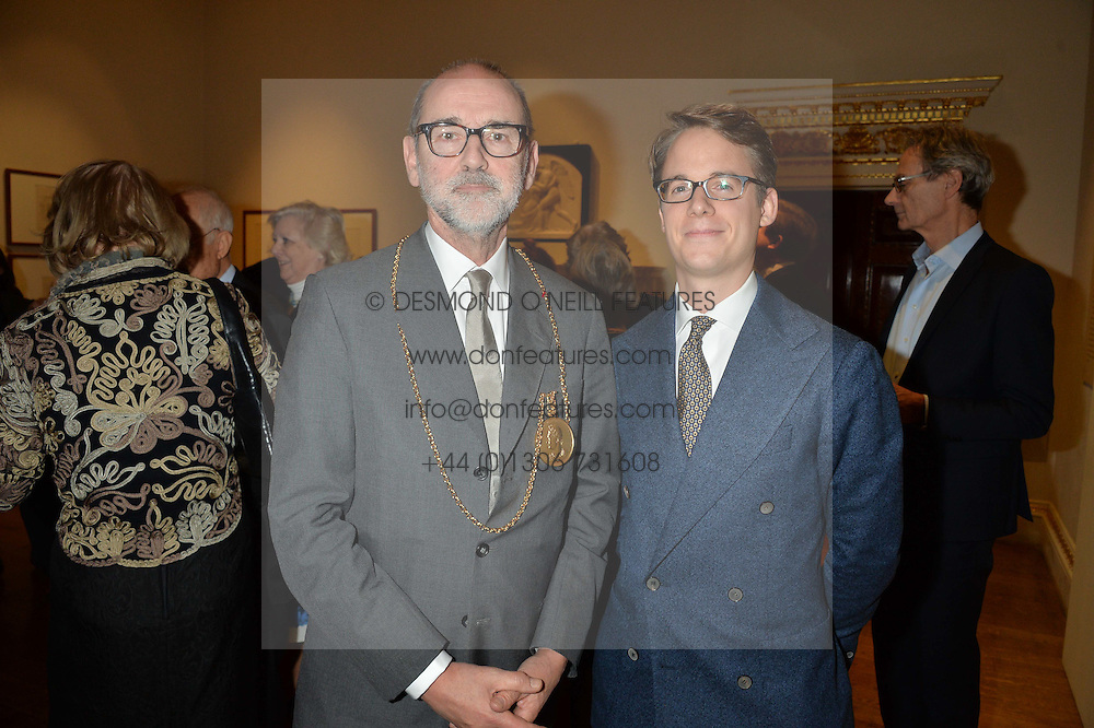 LONDON, ENGLAND 28 NOVEMBER 2016: Left to right, Christopher Le Brun and Wolf Burchard at a reception to celebrate the publication of The Sovereign Artist by Christopher Le Brun and Wolf Burchard held at the Royal Academy of Art, Piccadilly, London, England. 28 November 2016.