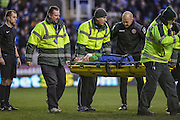 Walsall FC goalkeeper Neil Etheridge being stretchered off during the The FA Cup fourth round match between Reading and Walsall at the Madejski Stadium, Reading, England on 30 January 2016. Photo by Mark Davies.