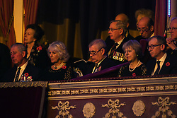 (left to right) The Prince of Wales, the Duchess of Cornwall, the Duke of York, Prime Minister Theresa May and her husband Philip attend the annual Royal Festival of Remembrance at the Royal Albert Hall in London.