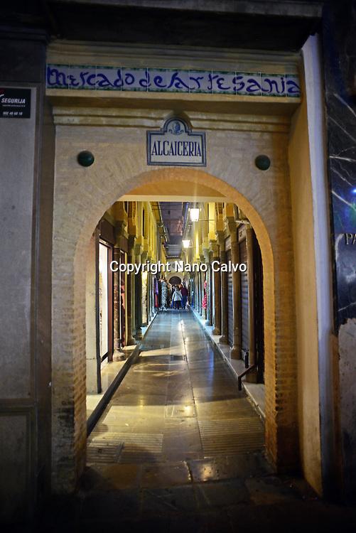 Entrance to Alcaiceria at night, Granada, Spain
