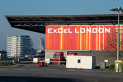 © Licensed to London News Pictures. 26/03/2020. London, UK. An exterior view of the ExCeL London exhibition centre. The huge exhibition centre in London is to be used as a field hospital during the COVID-19 coronavirus pandemic. Photo credit: Peter Manning/LNP