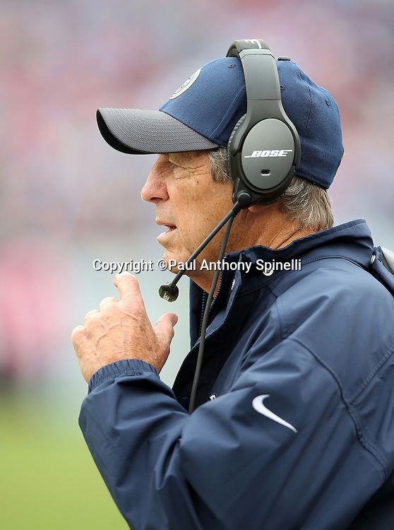 Tennessee Titans assistant head coach / defense coach Dick LeBeau looks on from the sideline during the 2015 week 7 regular season NFL football game against the Atlanta Falcons on Sunday, Oct. 25, 2015 in Nashville, Tenn. The Falcons won the game 10-7. (©Paul Anthony Spinelli)