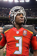 NEW ORLEANS, LA - SEPTEMBER 20:  Jameis Winston #3 of the Tampa Bay Buccaneers walks off the field after a game against the New Orleans Saints at Mercedes-Benz Superdome on September 20, 2015 in New Orleans Louisiana.  The Buccaneers defeated the Saints 26-19. (Photo by Wesley Hitt/Getty Images) *** Local Caption *** Jameis Winston
