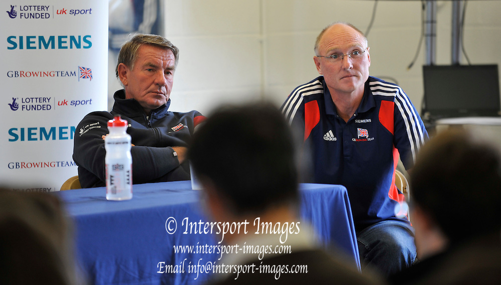 Reading, Great Britain. Top table. left,  Jurgen GROBLER and Paul THOMPSON. 2011 GBRowing World Rowing Championship, Team Announcement. Press Conference.  GB Rowing  Caversham Training Centre.  Tuesday  19/07/2011  [Mandatory Credit. Peter Spurrier/Intersport Images]