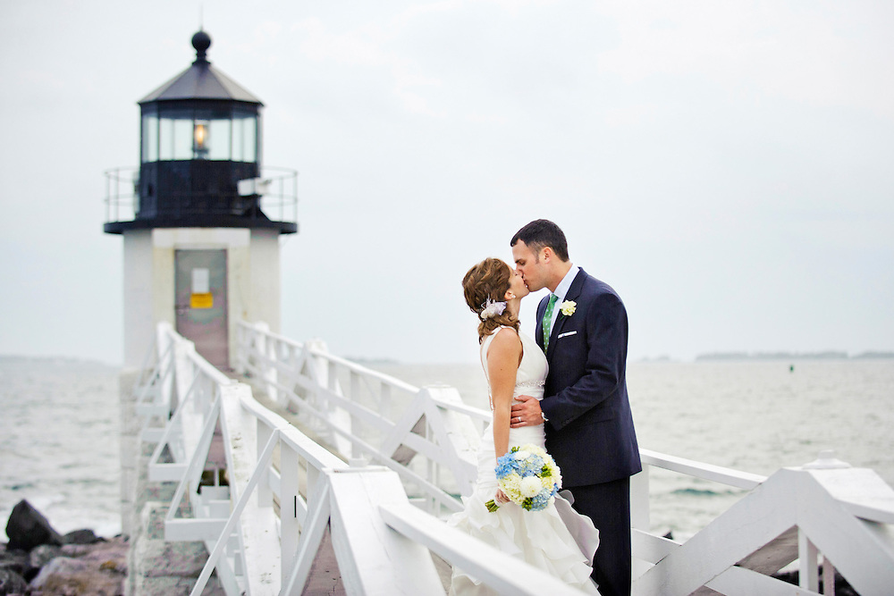 Lighthouse wedding in the fall on the Maine coast, reception held at the Inn at Ocean's Edge.  Image by Maine Wedding Photographer, Puerto Vallarta Wedding Photographer, New York City Wedding Photographer and Philadelphia Wedding Photographer Michelle Turner.