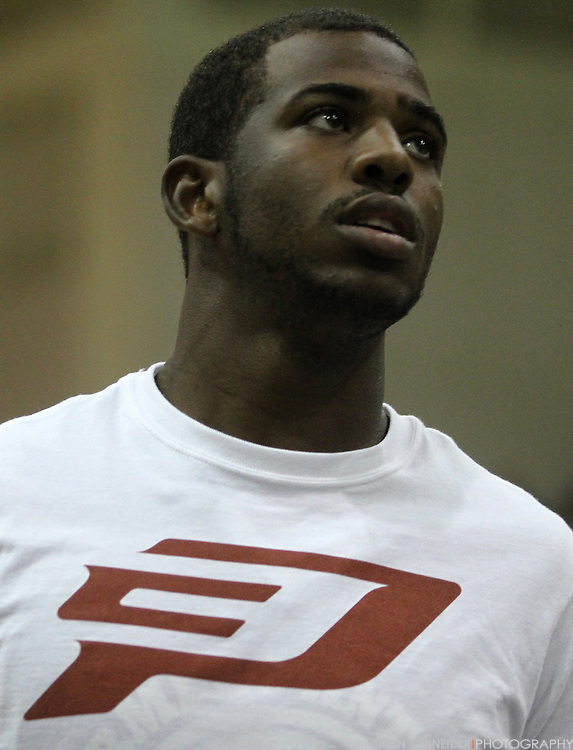 August 30, 2011; Baltimore, MD, USA; Chris Paul during warm-ups at the Goodman League All-Stars taking on The Melo League basketball game at Edward P. Hurt Gymnasium at Morgan State University on August 30, 2011 in Baltimore, Maryland. Brian Schneider-www.ebrianschneider.com