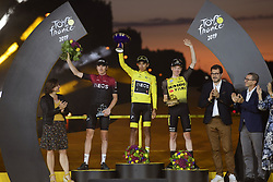 July 28, 2019, France: PARIS, FRANCE - JULY 28 :  BERNAL Egan (COL) of Team INEOS, THOMAS Geraint (GBR) of Team INEOS, KRUIJSWIJK Steven (NED) of Team Jumbo-Visma during stage 21 of the 106th edition of the 2019 Tour de France cycling race, a stage of 128 kms between Rambouillet and Paris Champs-Elysees on July 28, 2019 in Paris, France, 28/07/2019 (Credit Image: © Panoramic via ZUMA Press)
