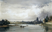 Distant View of Paris'': William Callow (1812-1908) English painter and draftsman. Riverscape with grey city in distance against a grey sky.