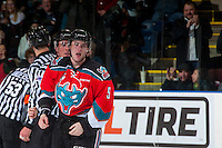 KELOWNA, CANADA - DECEMBER 3: Konrad Belcourt #5 of the Kelowna Rockets heads to the penalty box after a fighting call against the Brandon Wheat Kings on December 3, 2016 at Prospera Place in Kelowna, British Columbia, Canada.  (Photo by Marissa Baecker/Shoot the Breeze)  *** Local Caption ***