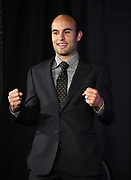 Landon Donovan attends the CONCACAF Gold Cup groups unveiling news conference, Wednesday, April 10, 2019, in Los Angeles.