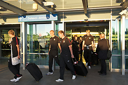 PODGORICA, MONTENEGRO- Wednesday, September 1, 2010: Wales' Steve Morison, David Edwards and goalkeeper Wayne Hennessey arrive at Podgorica Airport as the team prepare for the opening UEFA Euro 2012 Qualifying Group 4 match against Montenegro. (Pic by David Rawcliffe/Propaganda)