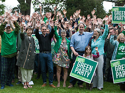 © Licensed to London News Pictures.  27/05/2017; Bristol, UK. General Election 2017; Green Party hold a rally at Cotham Gardens for their campaign in their number one target seat, Bristol West where they hope to gain their second Green MP with candidate Molly Scott Cato (currently MEP for the south west of England). Green Party co-leaders Caroline Lucas and Jonathan Bartley along with Jonathan Porritt all attended. Picture credit : Simon Chapman/LNP