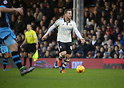 Fulham Striker and captain Ross McCormack launching an attack during the Sky Bet Championship match between Fulham and Sheffield Wednesday at Craven Cottage, London, England on 2 January 2016. Photo by Matthew Redman.