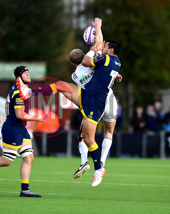 Ben Te'o of Worcester Warriors jumps for the ball  - Mandatory by-line: Joe Meredith/JMP - 22/10/2016 - RUGBY - Sixways Stadium - Worcester, England - Worcester Warriors v Brive - European Challenge Cup