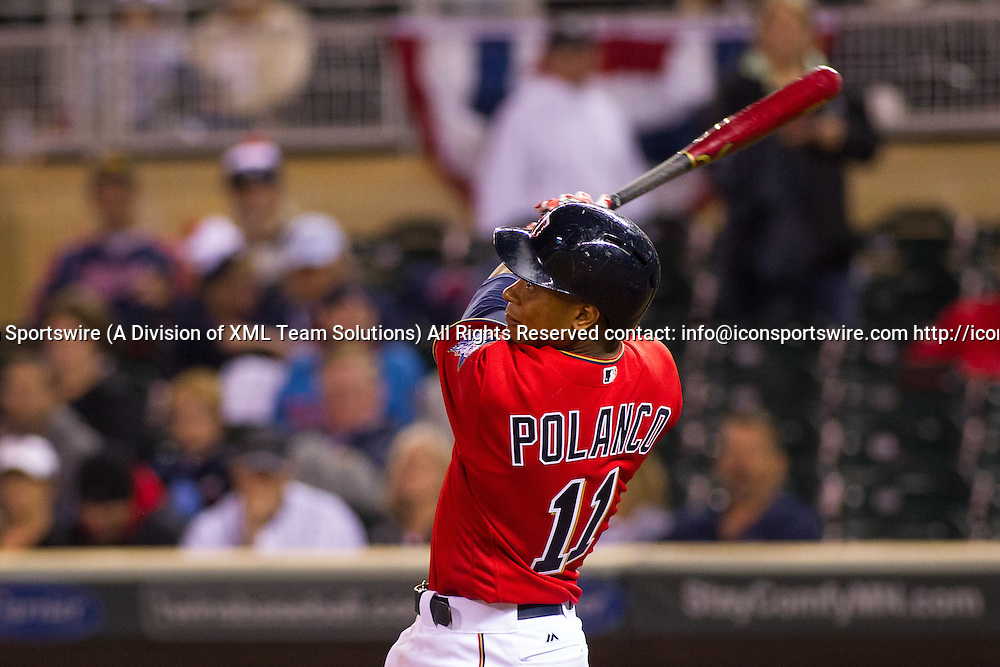23 SEP 2016: Minnesota Twins shortstop Jorge Polanco (11) during his at bat during the American League matchup between the Seattle Mariners and the Minnesota Twins at Target Field. The Seattle Mariners won 10-1 against the Minnesota Twins in Minneapolis, Minnesota. (Photo by: David Berding/Icon Sportswire)