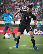 Mexico striker Raul Jiménez (9) in action during a game between Mexico and Cuba in a CONCACAF Gold Cup soccer match in Pasadena, Calif., Saturday, June 15, 2019. Mexico defeated Cuba 7-0. (Ed Ruvalcaba/Image of Sport)