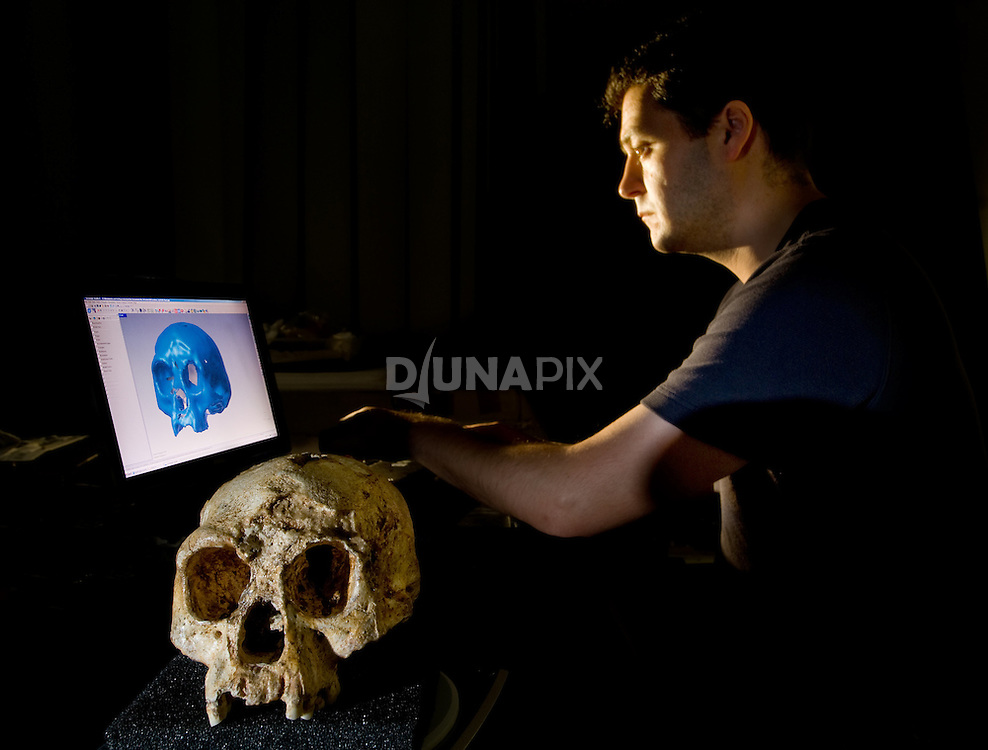 Dr. Matthew Tocheri creates a 3D scan of the cranium of LB1 - the type specimen for Homo floresiensis, or the Flores hobbit.
