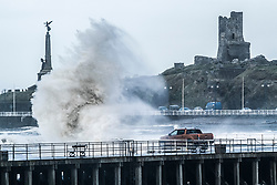 © Licensed to London News Pictures. 09/02/2019. Aberystwyth, UK.  The tail end of Storm Erik - the first named storm of 2019 - still has enough strength to bring huge waves battering the sea defences at Aberystwyth on the Cardigan Bay coast, West Wales at high  tide this morning. . Photo credit: Keith Morris/LNP