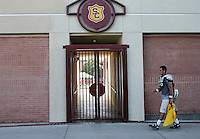 16 August 2006: Taylor Odegard (16) walks back to the campus lockerroom after the USC Trojans Pac-10 college football team summer practice at Howard Jones Field on campus in Los Angeles, CA.