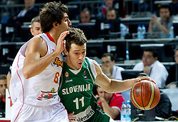 Ricky Rubio of Spain vs Goran Dragic of Slovenia during the fifth-place basketball match between National teams of Slovenia and Spain at 2010 FIBA World Championships on September 10, 2010 at the Sinan Erdem Dome in Istanbul, Turkey.   (Photo By Vid Ponikvar / Sportida.com)
