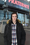Freddie Moore, grandson of England World Cup winning captain, Bobby Moore, in front of the statue of his grandfather prior to the Breast Cancer Care International Friendly match at Wembley Stadium, London<br /> Picture by Daniel Hambury/Focus Images Ltd +44 7813 022858<br /> 17/11/2015