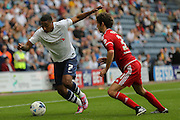 Chris Humphrey takes on Diego Fabbrini during the Sky Bet Championship match between Preston North End and Middlesbrough at Deepdale, Preston, England on 9 August 2015. Photo by Simon Davies.