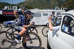 Emilie Moberg finds a car that's just her size on Stage 8 of the Giro Rosa - a 141.8 km road race, between Baronissi and Centola fraz. Palinuro on July 7, 2017, in Salerno, Italy. (Photo by Sean Robinson/Velofocus.com)