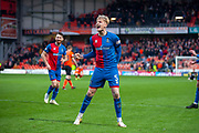 Coll Donaldson (#5) of Inverness Caledonian Thistle FC celebrates at the final whistle of the William Hill Scottish Cup quarter final match between Dundee United and Inverness CT at Tannadice Park, Dundee, Scotland on 3 March 2019.