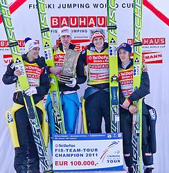 06.02.2011, Heini Klopfer Skiflugschanze, Oberstdorf, GER, FIS World Cup, Ski Jumping, Teamwettbewerb, Finale, im Bild FIS TEAM TOUR CHAMPION 2011 Austria, during ski jump at the ski jumping world cup Trail round in Oberstdorf, Germany on 06/02/2011, EXPA Pictures © 2011, PhotoCredit: EXPA/ P. Rinderer