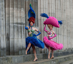 Pictured: Dancers Mathilde Tutiaux (left) and Lucy Monaghan from the Moulin Rouge in Paris, helped launch the National Galleries of Scotland major exhibition 'Pin-ups: Toulouse-Lautrec and the art of celebrity'<br /> <br /> Henri de Toulouse-Lautrec (1864-1901), one of the most innovative and popular French artists of the era known as the &lsquo;Belle &Eacute;poque&rsquo;.<br /> <br /> &copy; Dave Johnston / EEm