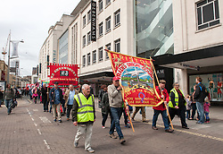 © Licensed to London News Pictures. 01/05/2016. Bristol, UK.  Mayday trade union march and rally in Bristol, starting at Castle Park and going to the Trinity Centre for an afternoon of speeches, music, and information against the Trade Union Bill and anti-union laws. <br /> The event was addressed by Marvin Rees, the Labour Bristol mayoral candidate, and there were speeches from Kerry McCarthy MP, and Nigel Costley from the South West TUC. Photo credit : Simon Chapman/LNP