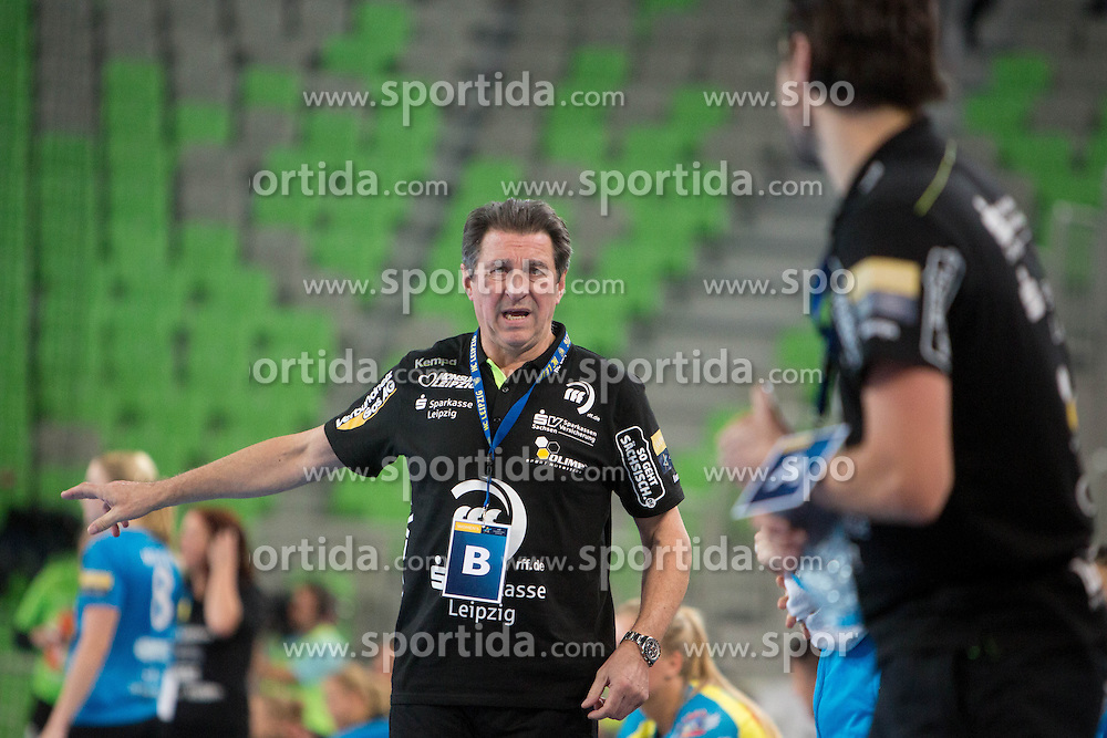 Wieland Schmidt during handball match between RK Krim Mercator (SLO) and HC Leipzig (GER) in 6th Round of Women's EHF Champions League 2014/15, on November 21, 2014 in Arena Stozice, Ljubljana, Slovenia. Photo by Urban Urbanc / Sportida