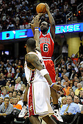 Apr 19, 2010; Cleveland, OH, USA; Chicago Bulls guard Ronald Murray (6) shoots over Cleveland Cavaliers forward Antawn Jamison (4) during the fourth period in game two in the first round of the 2010 NBA playoffs at Quicken Loans Arena. The Cavaliers beat the Bulls 112-102. Mandatory Credit: Jason Miller-US PRESSWIRE