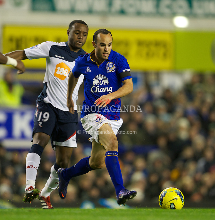 LIVERPOOL, ENGLAND - Wednesday, January 4, 2012: Everton's Landon Donovan in action against Bolton Wanderers during the Premiership match at Goodison Park. (Pic by David Rawcliffe/Propaganda)