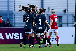 Bristol City Women celebrate their first goal - Mandatory by-line: Ryan Hiscott/JMP - 08/12/2019 - FOOTBALL - Stoke Gifford Stadium - Bristol, England - Bristol City Women v Birmingham City Women - Barclays FA Women's Super League