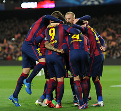 Barcelona's Ivan Rakitic celebrates with his team mates after scoring. - Photo mandatory by-line: Dougie Allward/JMP - Mobile: 07966 386802 - 18/03/2015 - SPORT - Football - Barcelona - Nou Camp - Barcelona v Manchester City - UEFA Champions League - Round 16 - Second Leg