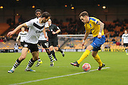 Maidenhead United midfielder Harry Pritchard and Port Vale defender Ben Purkiss during the The FA Cup match between Port Vale and Maidenhead United at Vale Park, Burslem, England on 8 November 2015. Photo by Jemma Phillips.