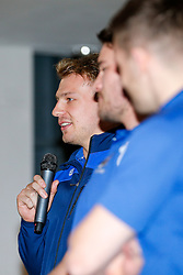 Mitch Eadie of Bristol Rugby speaks during a Q&A at the Player Sponsors' Dinner in the Heineken Lounge at Ashton Gate - Mandatory byline: Rogan Thomson/JMP - 08/02/2016 - RUGBY UNION - Ashton Gate Stadium - Bristol, England - Bristol Rugby Player Sponsors' Dinner.