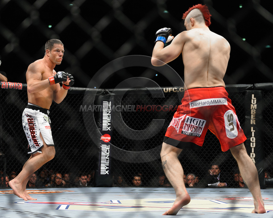 """COLOGNE, GERMANY, JUNE 13, 2009: Dan Hardy and Marcus Davis during """"UFC 99: The Comeback"""" inside LanXess Arena, Cologne"""