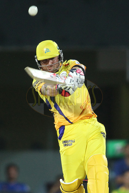 Brendon McCullum of Chennai Super Kings hits over the top for six during match 43 of the Pepsi IPL 2015 (Indian Premier League) between The Chennai Super Kings and The Mumbai Indians held at the M. A. Chidambaram Stadium, Chennai Stadium in Chennai, India on the 8th May April 2015.<br /> <br /> Photo by:  Shaun Roy / SPORTZPICS / IPL