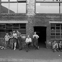 Cutlery workers take a break, Sydney Street, Sheffield, 19 July 1983