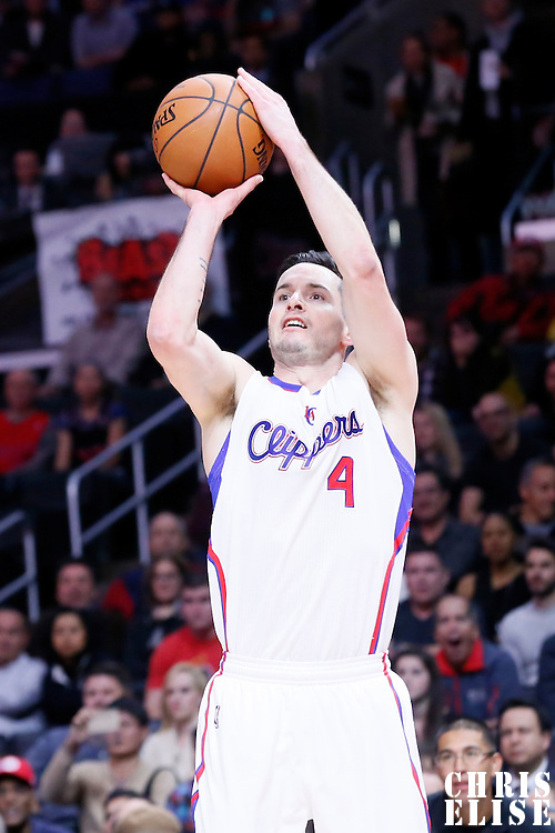 23 February 2015: Los Angeles Clippers guard J.J. Redick (4) takes a jump shot during the Memphis Grizzlies 90-87 victory over the Los Angeles Clippers, at the Staples Center, Los Angeles, California, USA.
