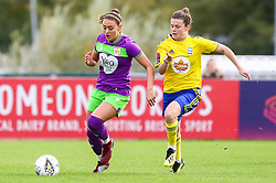 Ella Rutherford of Bristol City is challenged by Hayley Ladd of Birmingham City Women - Mandatory by-line: Ryan Hiscott/JMP - 14/10/2018 - FOOTBALL - Stoke Gifford Stadium - Bristol, England - Bristol City Women v Birmingham City Women - FA Women's Super League 1