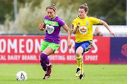 Ella Rutherford of Bristol City is challenged by Hayley Ladd of Birmingham City Women - Mandatory by-line: Ryan Hiscott/JMP - 14/10/2018 - FOOTBALL - Stoke Gifford Stadium - Bristol, England - Bristol City Women v Birmingham City Women - FA Women's Super League 1