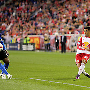 HARRISON, NEW JERSEY- November 06:  Gonzalo Veron #30 of New York Red Bulls puts in a cross during the New York Red Bulls Vs Montreal Impact MLS playoff match at Red Bull Arena, Harrison, New Jersey on November 06, 2016 in Harrison, New Jersey. (Photo by Tim Clayton/Corbis via Getty Images)